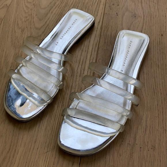 Zara women's clear strap metallic sandal